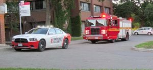 York University Security Services cruiser escorting Toronto Fire truck